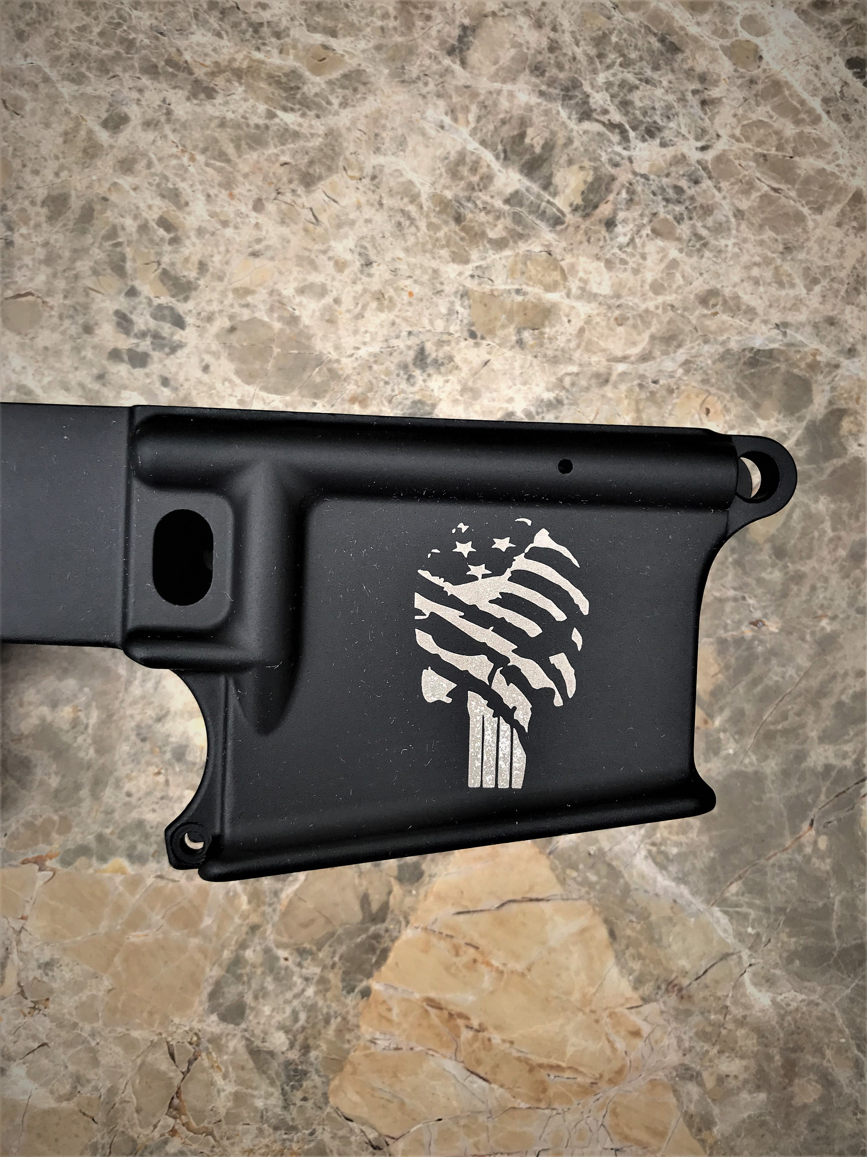 AR-15 Tattered Flag Punisher 80% Lower