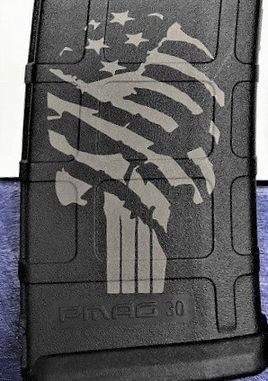 Custom Laser Engraved Tattered Flag Punisher Magazine