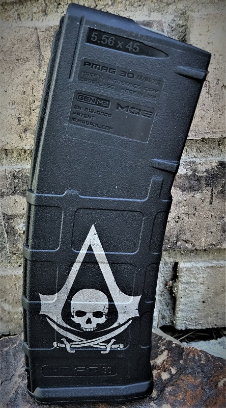 Custom Laser Engraved Assassin's Creed Flag Magazine