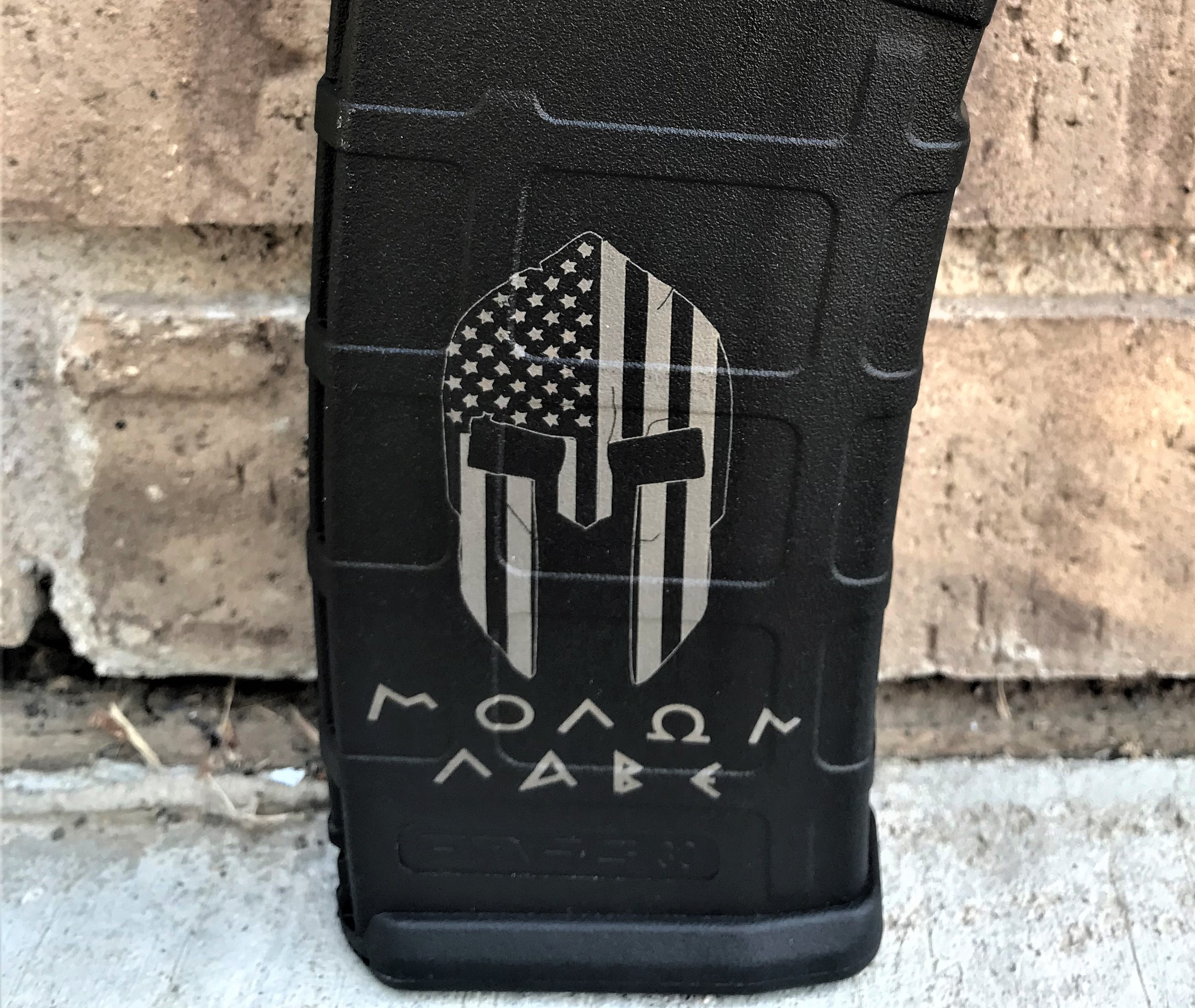 Custom Laser Engraved Molon Labe Flag Magazine