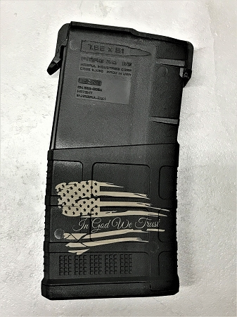 Custom Laser Engraved In God We Trust Flag .308 Magazine