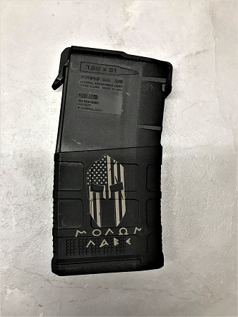 Custom Laser Engraved Molon Labe Flag .308 Magazine