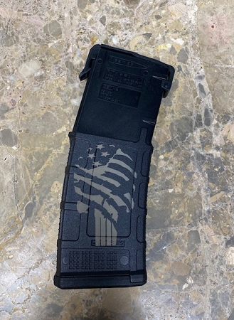 Custom Laser Engraved Tattered Flag Punisher 30 Rnd .300 Blackout Specific Magazine