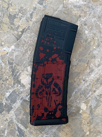Custom Laser Engraved Mandalorian Splatter Magazine- RED