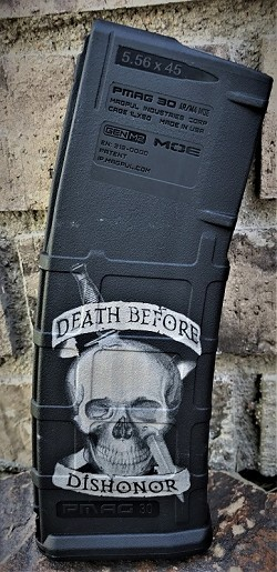 Custom Laser Engraved Death Before Dishonor Magazine
