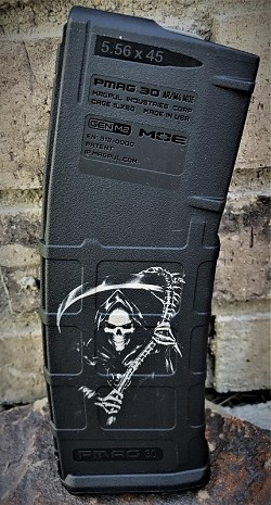 Custom Laser Engraved Reaper Magazine